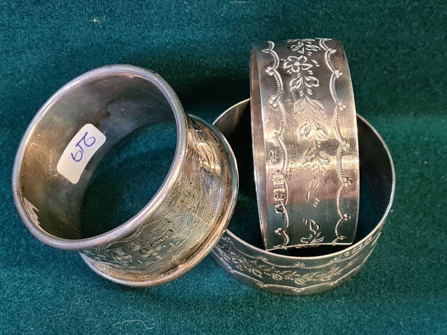 3 Birmingham silver monogrammed napkin rings, 54g. - Image 2 of 3