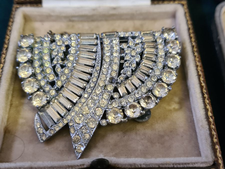 An art deco diamante double clip brooch and a pair of art deco drop earrings. - Image 2 of 4