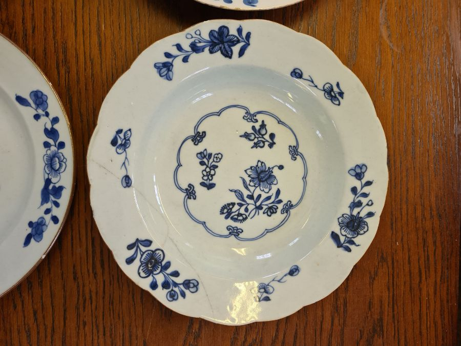 5 x 18th century and later tin glazed and porcelain plates and dishes. - Image 2 of 11
