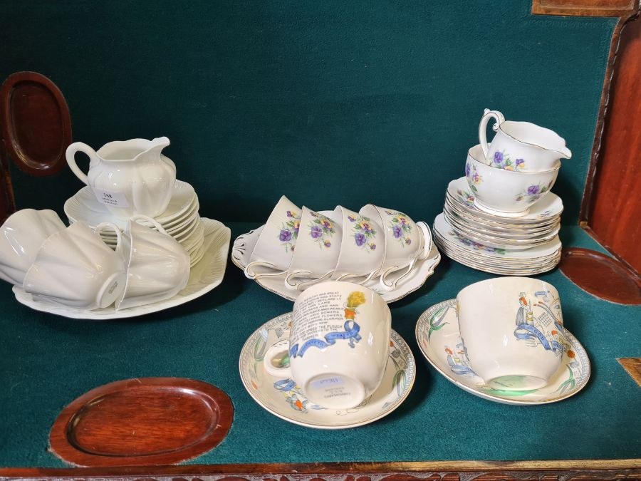 Shelley creamware part tea service, Queen Ann Country Garden floral tea service and a pair of Burley