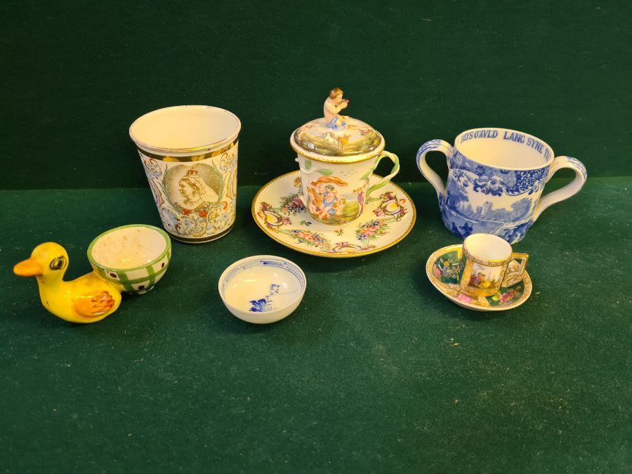 Tray lot to include copper lustre cup and beakers, Copeland 2 handled mug, enamelled Victoria - Image 3 of 6