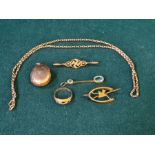 9ct gold locket, chain, bird brooch, swastika brooch, drop earring and 18ct ring with missing stone,