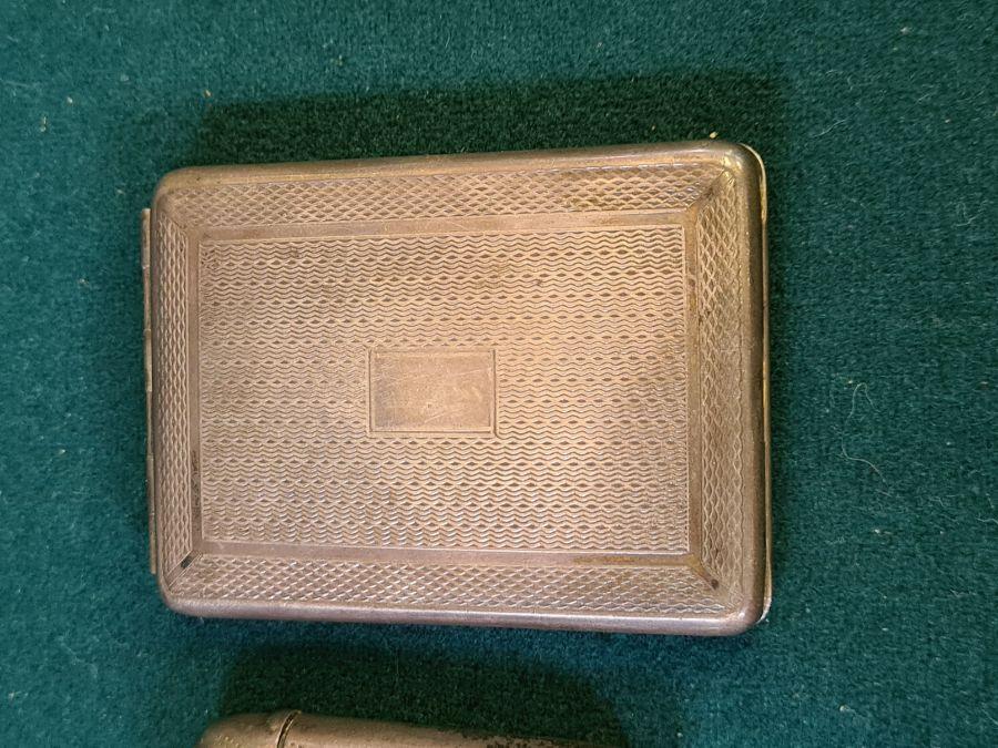 Silver engine turned matchbook holder, Birmingham 1936 by S.J. Levi & Co. and 2 silver vesta - Image 2 of 5