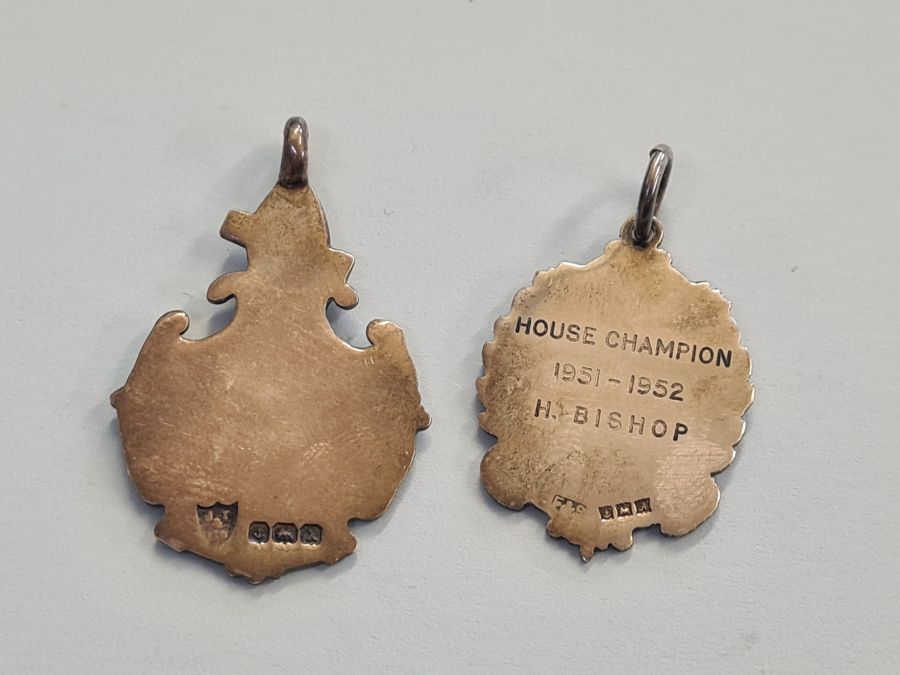 2 silver darts medallions. - Image 2 of 2