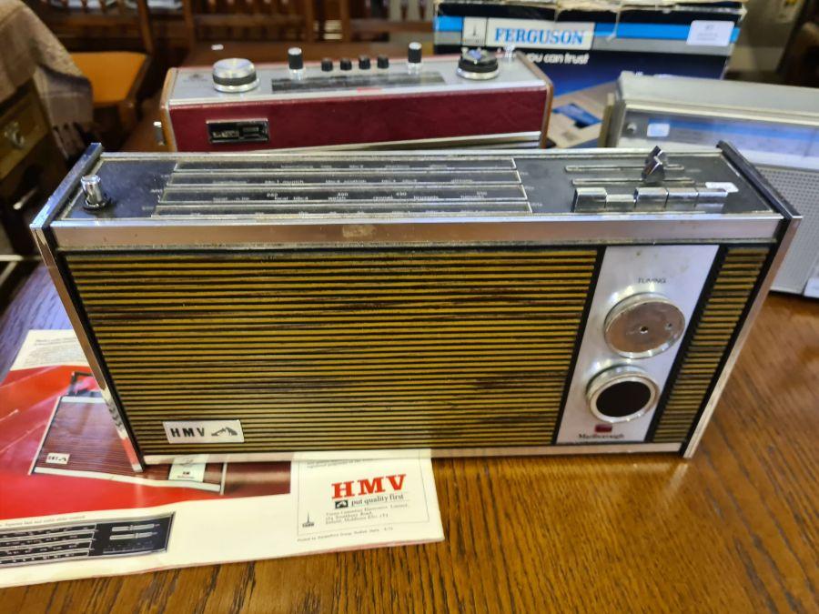 Vintage radios, Roberts R606-MB, HMV Marlborough model 2182 with brochure, Ferguson cassette - Image 3 of 5