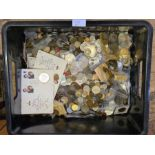 Approx 30kg of mixed English, European and world copper and cupro nickel coinage.