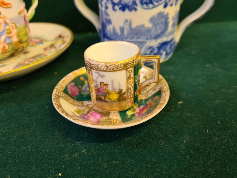 Tray lot to include copper lustre cup and beakers, Copeland 2 handled mug, enamelled Victoria - Image 6 of 6