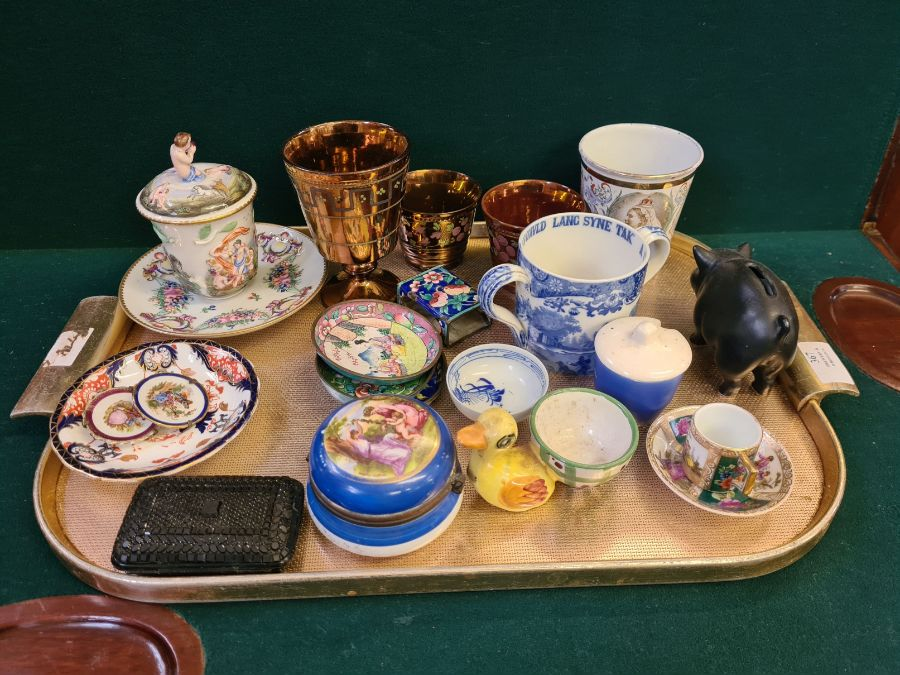 Tray lot to include copper lustre cup and beakers, Copeland 2 handled mug, enamelled Victoria