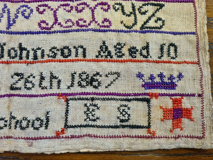 Victorian needlework sampler by Ann Elizabeth Johnson 1867 of Gamston School, Retford. - Image 2 of 4