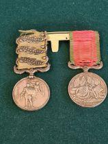 1854 Crimea medal with Sebastopol, Inkerman & Balaklava clasps with a 1855 British issue Turkish