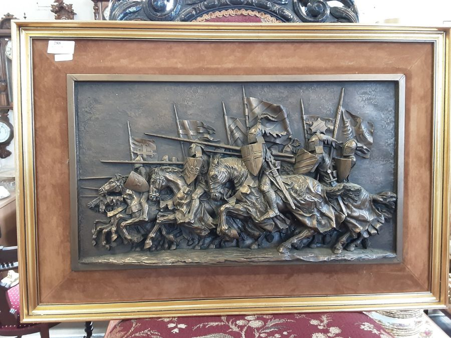 1970's gilt framed plaque of charging medieval knights by Marcus Designs and a pair of gilt framed