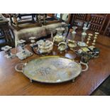 EPNS 4 piece teaset, hammered pewter candlesticks, candelabra, chased tray and other plated items.