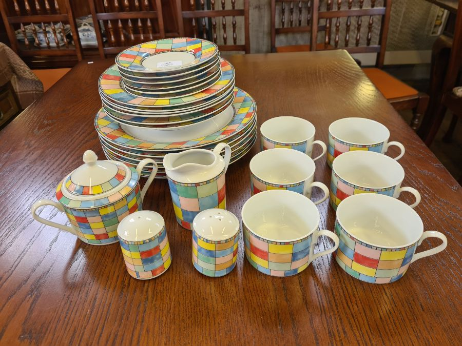 Modern Table Top Co. Mardi Gras pattern coloured 28 piece tea and dinner service and a small
