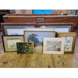 Assorted pictures and prints to include 2 photographic views of Prague, pair of framed 1921 Punch