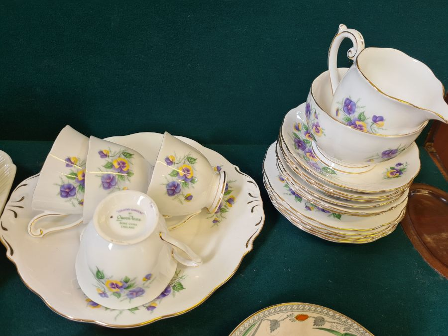 Shelley creamware part tea service, Queen Ann Country Garden floral tea service and a pair of Burley - Image 3 of 6
