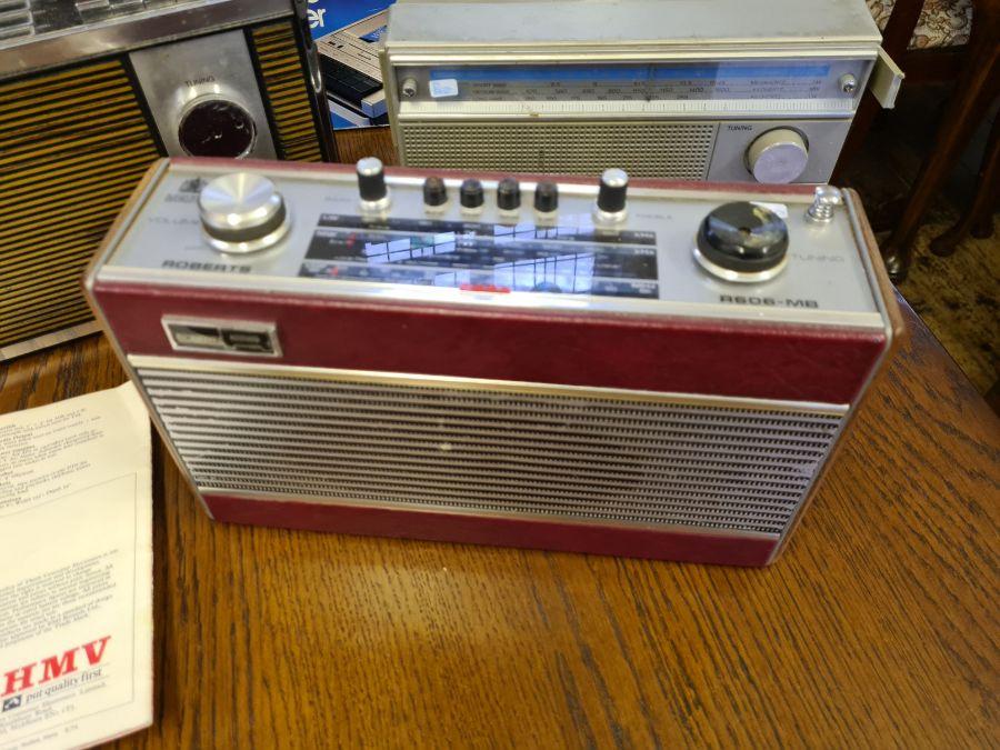 Vintage radios, Roberts R606-MB, HMV Marlborough model 2182 with brochure, Ferguson cassette - Image 2 of 5