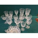 Tray of Georgian and later drinking glasses to include ale glasses, cut pedestal glasses, cordial