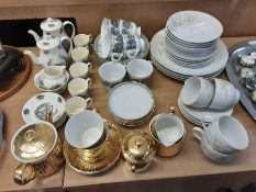 Denby Whisper pattern 4 place breakfast set, Royal Worcester gilt 2 place teaset, Bourne End