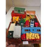 Tray lot to include Corgi Land Rover and caravan, Lesney Moko trailer, Corgi TC Commer bus, Hornby