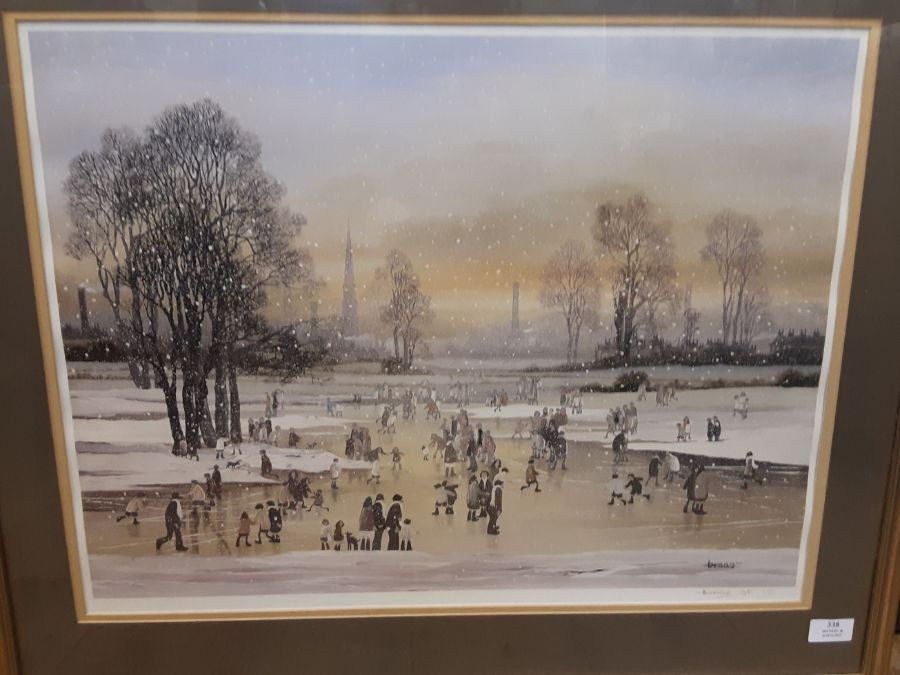 Brian Shields (Braaq) framed artists proof 1/6 of a winter ice skating scene on the outskirts of - Image 3 of 3