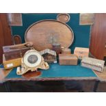 Collection of various cigar and trinket boxes, bamboo carved boxes, an oriental brass inlaid tray