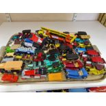 Tray lot of Matchbox and Lledo die cast cars and commercial vehicles.