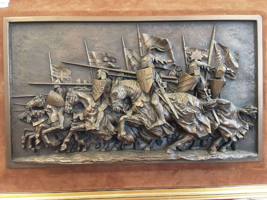 1970's gilt framed plaque of charging medieval knights by Marcus Designs and a pair of gilt framed - Image 2 of 5