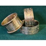 3 Birmingham silver monogrammed napkin rings, 54g.