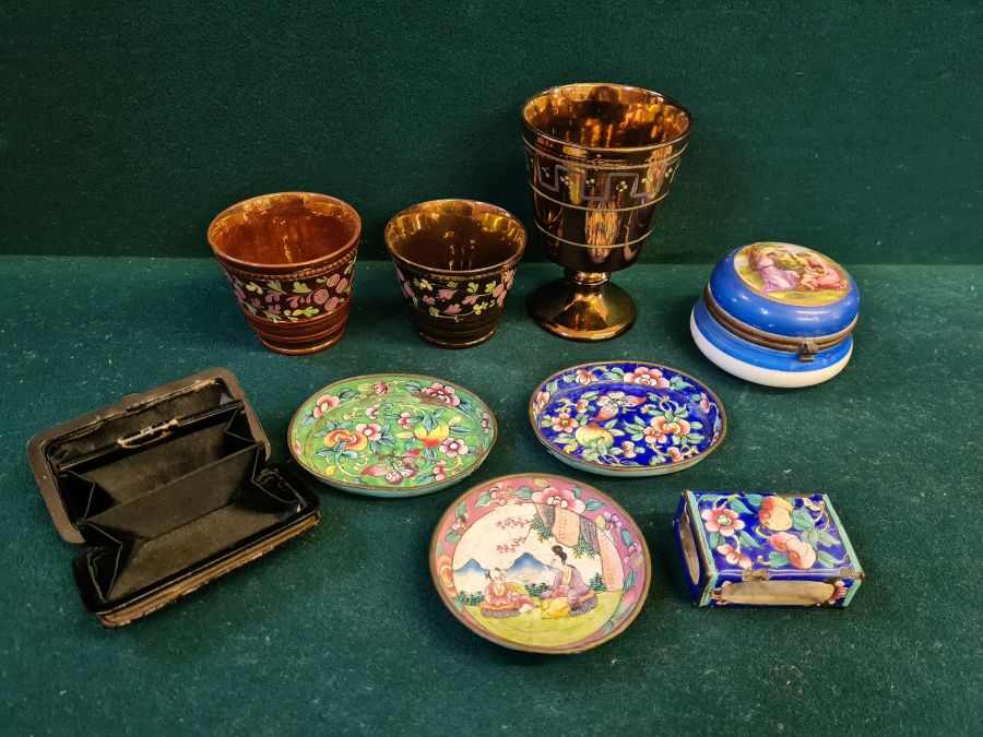 Tray lot to include copper lustre cup and beakers, Copeland 2 handled mug, enamelled Victoria - Image 2 of 6