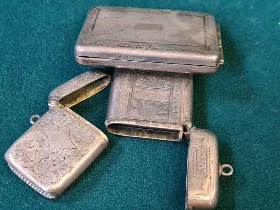 Silver engine turned matchbook holder, Birmingham 1936 by S.J. Levi & Co. and 2 silver vesta - Image 5 of 5