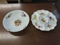 A large Royal Worcester Evesham pattern bowl 32cm diameter, a similar 34cm hors d'oeuvres dish,