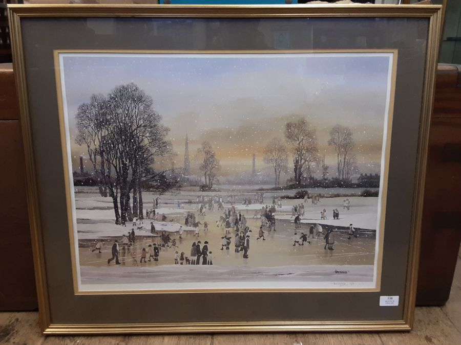 Brian Shields (Braaq) framed artists proof 1/6 of a winter ice skating scene on the outskirts of