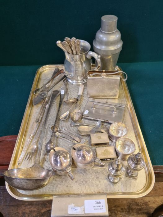Mixed tray lot of metal wares to include oriental pewter cocktail shaker, large beaded ladle,