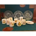 Tray lot of miscellaneous pottery, porcelain and glass Royal commemorative wares.