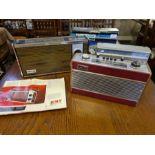 Vintage radios, Roberts R606-MB, HMV Marlborough model 2182 with brochure, Ferguson cassette