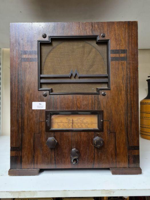 1934 Marconi No. 257 radio in walnut Art Deco style case.