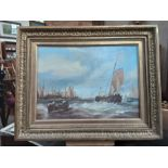 An early 20th century unsigned oil on canvas continental harbour scene on rough seas, 35cm x 26cm.