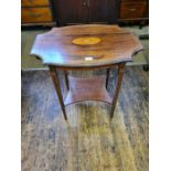 Edwardian mahogany shaped top 2 tier occasional table with boxwood crossbanding and string inlays