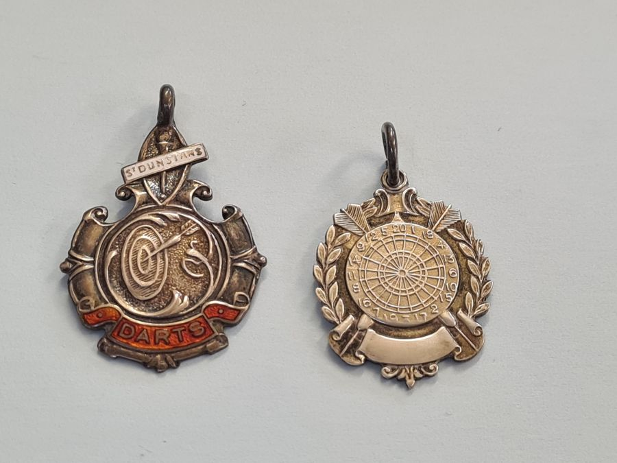 2 silver darts medallions.