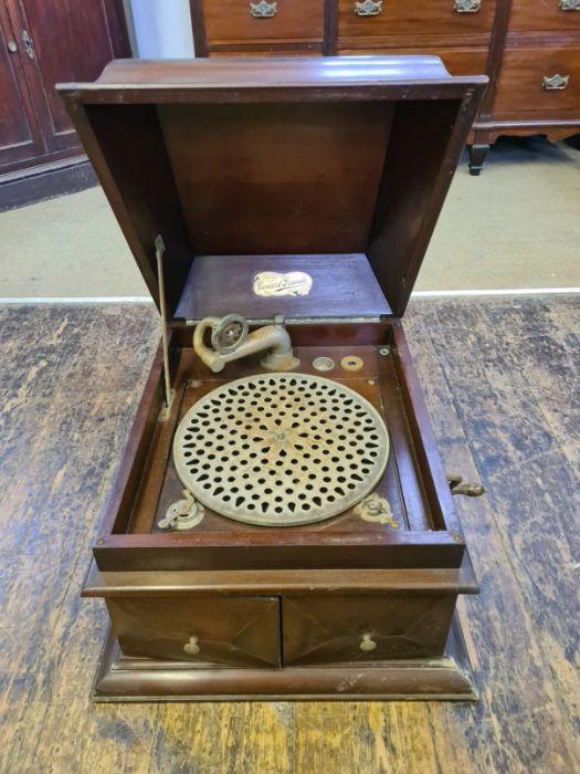 Edwardian mahogany cased Concert Grand wind up gramophone. - Image 2 of 4