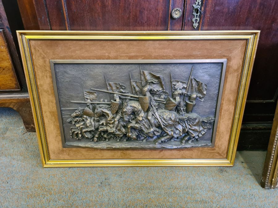 1970's gilt framed plaque of charging medieval knights by Marcus Designs and a pair of gilt framed - Image 4 of 5