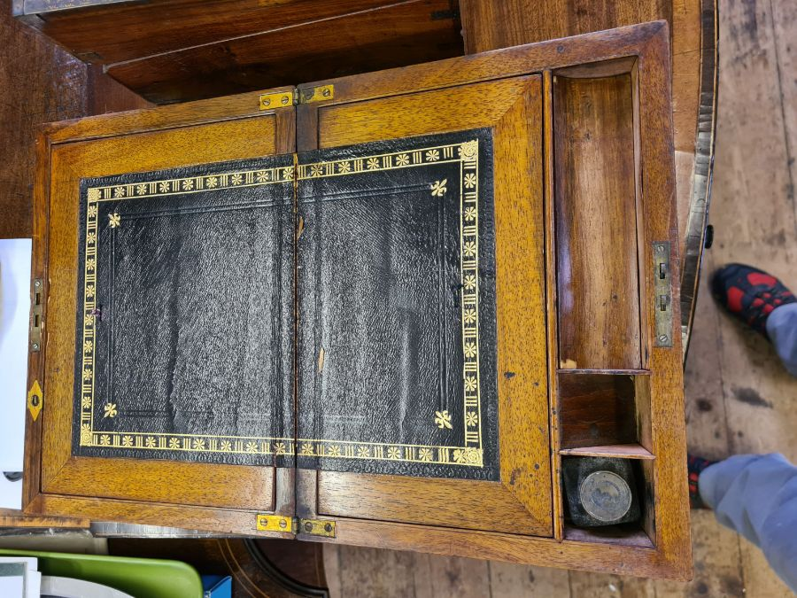 2 Victorian mahogany boxes for restoration and a small mahogany writing slope. - Image 4 of 6