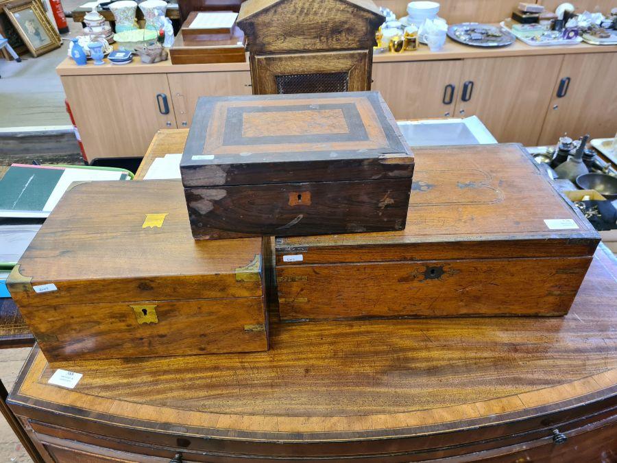 2 Victorian mahogany boxes for restoration and a small mahogany writing slope.