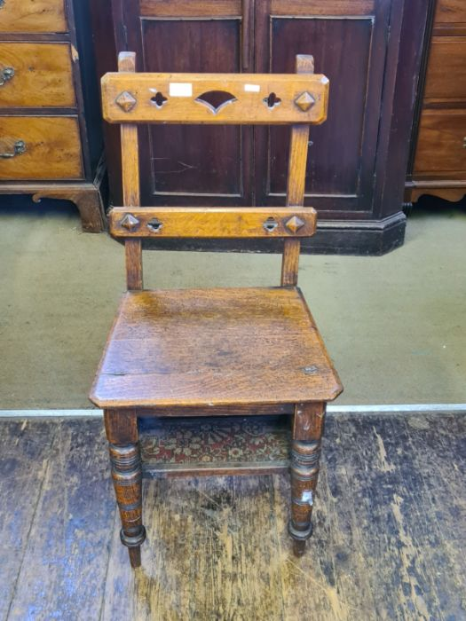 Victorian oak arts and craft metamorphic library steps. - Image 2 of 4