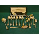Cased Joseph Rodgers beaded spoon and a quantity of silver Georgian and later spoons, 238g.