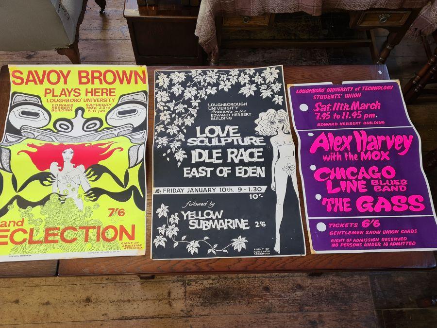 3 x 1960's Loughborough University concert posters.