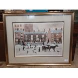 """Helen Bradley """"The Snowman"""" gilt framed print, pencil signed by the artist with blindstamp, 23"""" x"""