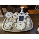 Royal Albert Old Country Roses ornamental items to include shoes, covered dishes, photo frame, bell,