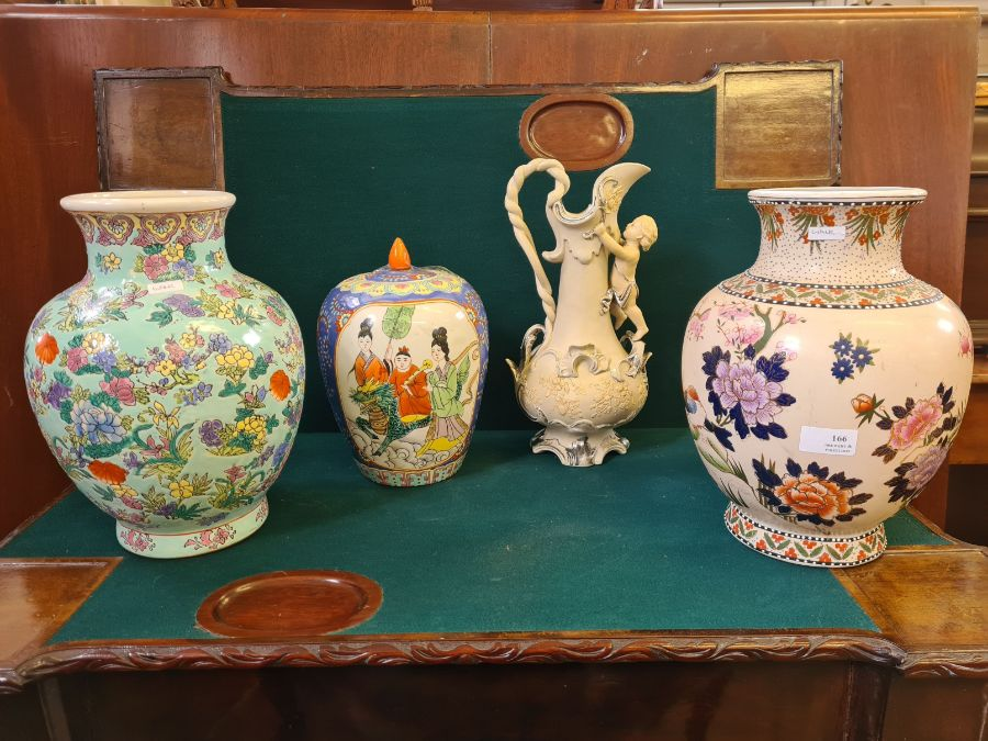 2 x modern oriental style vases, a large glazed ginger jar and a continental silvered pottery jug.