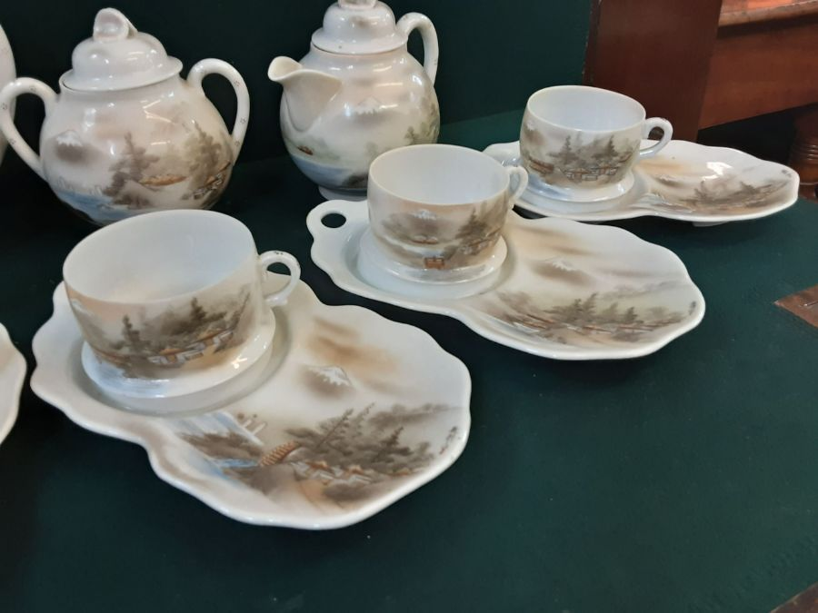Japanese eggshell china tea service with pictorial lake and Mount Fuji decoration, tea cups with - Image 3 of 4